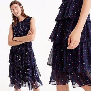 J Crew Lips Print Silk Tier Dress, Size 12